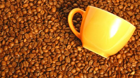 coffee, cup, yellow