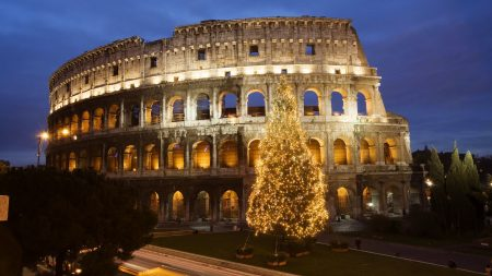 colosseum, rome, tree