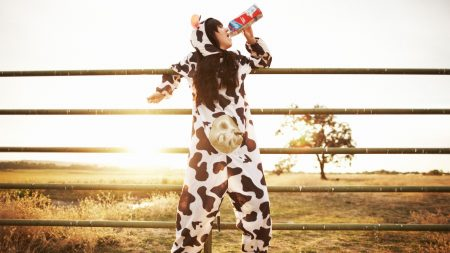 costume, cow, grass