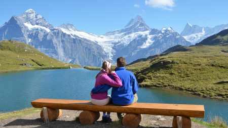 couple, bench, mountain