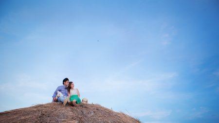 couple, date, sky