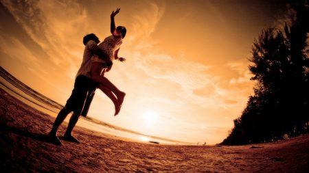 couple, hugging, joy