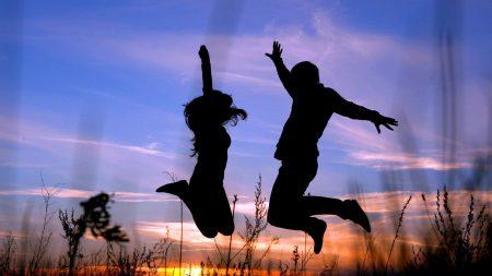 couple, jump, shadow