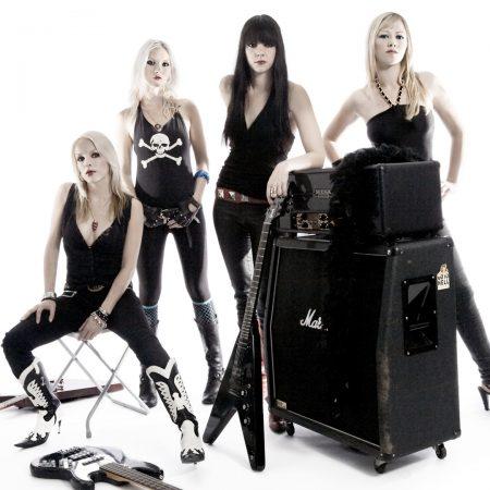 crucified barbara, girls, guitars
