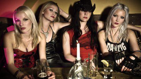 crucified barbara, girls, table