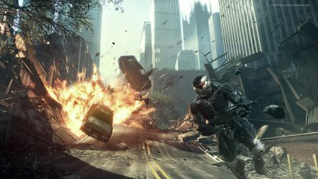 crysis, road, explosion