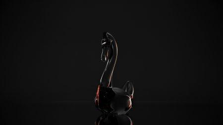 crystal, swan, mirror