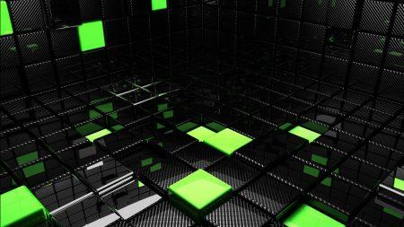 cube, square, green