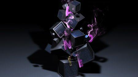 cubes, man, smoke