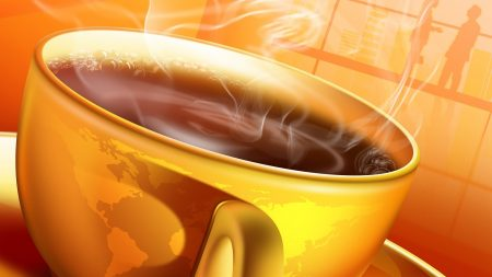 cup, steam, yellow