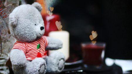 cute, teddy bear, candles
