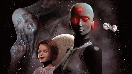 cyborg, girl, man
