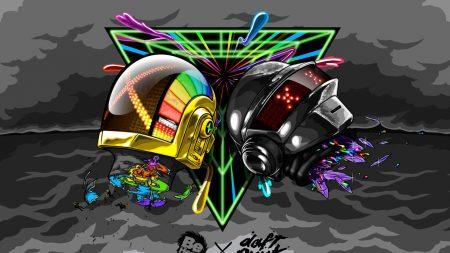 daft punk, helmets, graphics