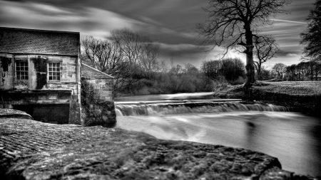 dam, river, house