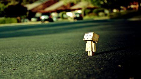 danboard, road, cardboard robot