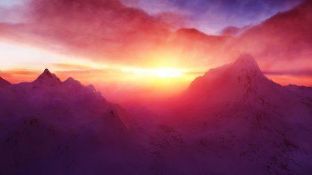 dawn, mountains, light