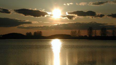 decline, sun, water