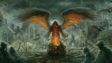 demon, wings, city