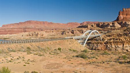 desert, road, bridge
