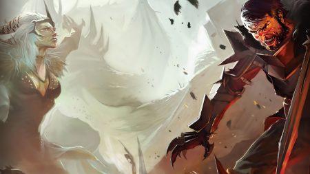 dragon age, girl, man