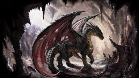 dragon, cave, light