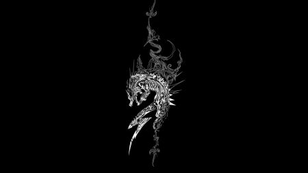 dragon, dark background, patterns