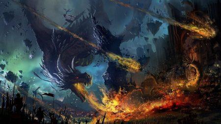 dragon, fall, fire