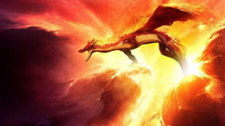 dragon, fire, sparkles