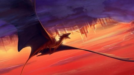 dragon, flying, sunset