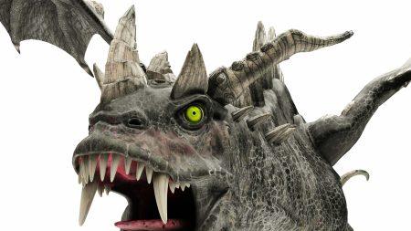 dragon, horns, white