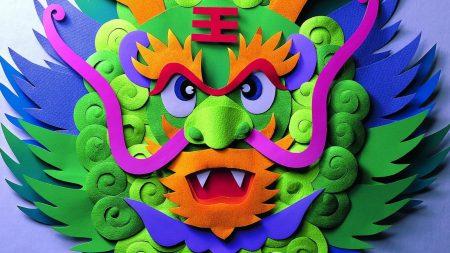 dragon, mask, multicolored