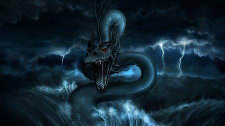 dragon, monster, water
