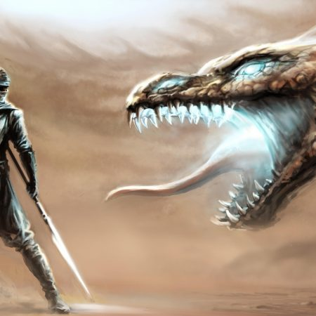 dragon, mouth, warrior