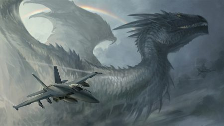dragon, plane, rainbow