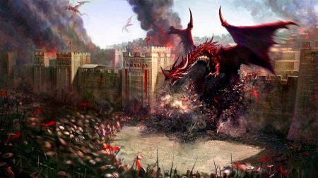 dragons, city, wall