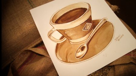 drawing, cup, coffee