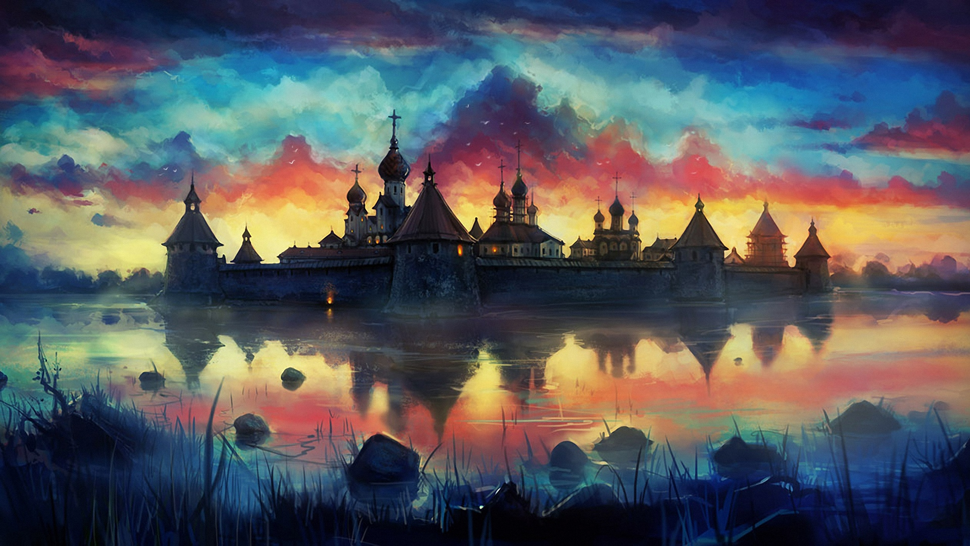 Download Wallpaper 1920x1080 Drawing Paint Monastery