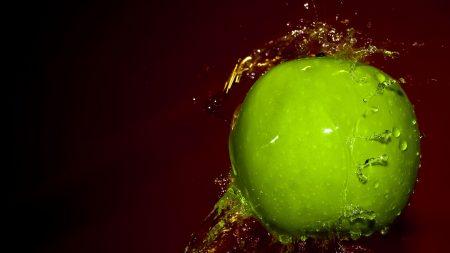drops, green, apple
