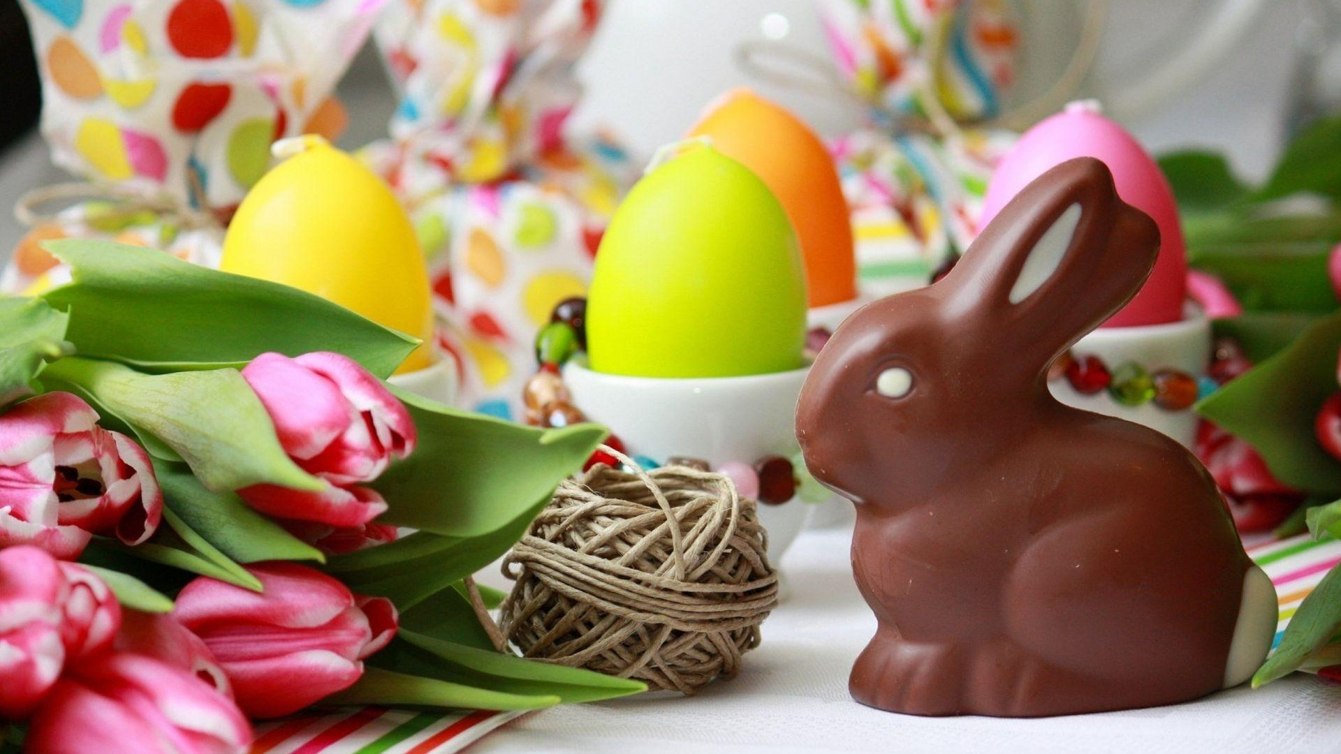 Download Wallpaper 1920x1080 Easter Rabbit Chocolate Eggs