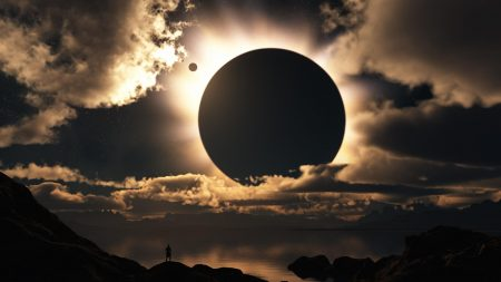 eclipse, sky, clouds
