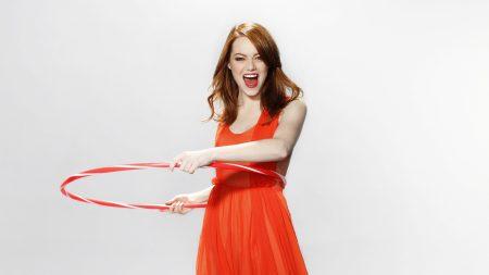 emma stone, red hair, dress