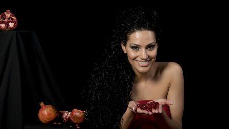eva rivas, brunette, pomegranate