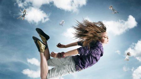 falling, sky, girls