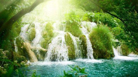 falls, greens, light