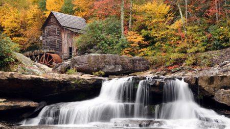 falls, lodge, stones