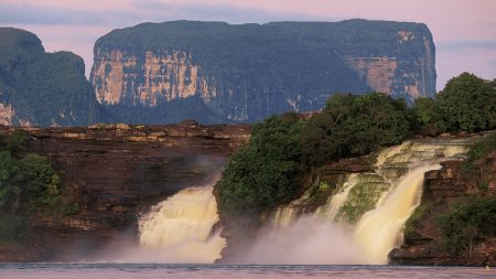 falls, mountains, stream