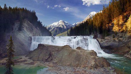 falls, mountains, wood
