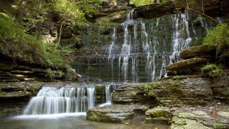falls, plates, streams