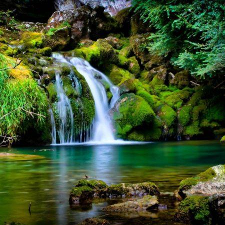 falls, stones, moss
