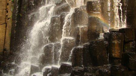 falls, stones, splashes